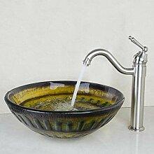 Hiwenr Waschbecken Waschbecken Glas Handbemalt