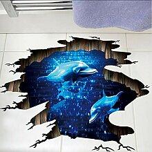 (Hjcmhjc) 3D Unterwasser Delphine Boden Aufkleber