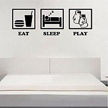 Hjcmhjc Eat Sleep Play Boxen Aufkleber Wandkunst