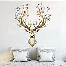 (Hjcmhjc) Schöne Blume Elch Wandkunst Aufkleber