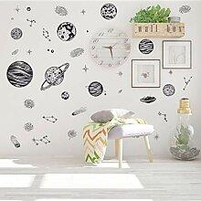 (Hjcmhjc) Schwarz Skizze Raum Planet Sterne