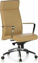 hjh OFFICE 600220 Bürostuhl Chefsessel BAROLO 20 Leder hellbraun edle Ausführung, viele Einstellungen, hohe Rückenlehne, Schreibtischstuhl ergonomisch, Büro Sessel, Drehstuhl, XXL Chefsessel