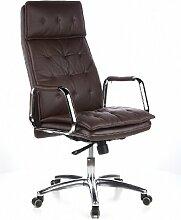 hjh OFFICE 600924 Chefsessel Bürostuhl VILLA 20 Nappa-Leder Braun Büro-Drehstuhl Hohe Rückenlehne Kopfstütze Armlehne Sessel XXL