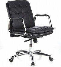 hjh OFFICE 600930 Bürostuhl Chefsessel VILLA 10 Nappaleder schwarz, robuste Ausführung, mittelhohe Rückenlehne, Schreibtischstuhl ergonomisch, Büro Sessel, Drehstuhl, XXL Chefsessel
