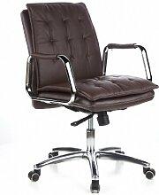 hjh OFFICE 600934 Bürostuhl Chefsessel VILLA 10 Nappaleder braun, robuste Ausführung, mittelhohe Rückenlehne, Schreibtischstuhl ergonomisch, Büro Sessel, Drehstuhl, XXL Chefsessel