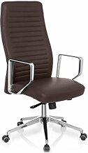 hjh OFFICE 600963 Bürostuhl Chefsessel VENOSA Leder braun edle Ausführung, bequemer Designklassiker, hohe Rückenlehne, Schreibtischstuhl ergonomisch, Büro Sessel, Drehstuhl, feste Armlehne