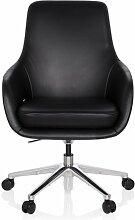 hjh OFFICE 600980 Bürostuhl BARENO Echt-Leder Schwarz Lounge-Sessel Drehbar Höhenverstellbar Hohe Rückenlehne