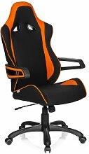 hjh OFFICE 621842 Gaming PC Stuhl RACER PRO II Stoff schwarz orange, hohe Rückenlehne, abriebfester Stoff, ideal zum Zocken, feste Armlehne, Bürostuhl Sessel, XXL Chefsessel, Gaming, Racing Stuhl, Jugendstuhl