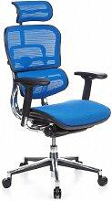 hjh OFFICE 652150 Profi Bürostuhl ERGOHUMAN Netzstoff Blau Chefsessel mit Armlehnen und Kopfstützte verstellbar