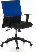 hjh OFFICE 653510 Bürostuhl Drehstuhl LAGUNA Stoff blau / schwarz, Bürodrehstuhl mit ergonomisch breitem Muldensitz, Drehstuhl mit stabiler Rückenlehne, abklappbare Armlehnen , Schreibtischstuhl