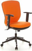 hjh OFFICE 653622 Bürostuhl Drehstuhl TRAFFIC 20 Stoff ornage, Bürodrehstuhl mit breitem Muldensitz, ergonomisch geformte Rückenlehne, abklappbare Armlehnen, Schreibtischstuhl, Bürosessel