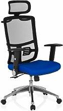 hjh OFFICE 653710 Bürostuhl Drehstuhl CAYEN Stoff schwarz / blau, Klassiker mit ergonomisch geformtem Netzrücken, feste Kopfstütze, abklappbaren Armlehnen, Schreibtischstuhl, Büro Sessel