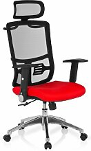 hjh OFFICE 653720 Bürostuhl Drehstuhl CAYEN Stoff schwarz / rot, Klassiker mit ergonomisch geformtem Netzrücken, feste Kopfstütze, abklappbaren Armlehnen, Schreibtischstuhl, Büro Sessel