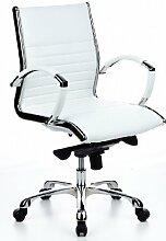 hjh OFFICE 660512 Bürostuhl Chefsessel PARMA 10 Leder creme, Designklassiker, hochwertige Verarbeitung, mittelhohe Rückenlehne, Schreibtischstuhl ergonomisch, Büro Sessel, Drehstuhl, Schreibtischstuhl