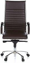 hjh OFFICE 660520 Bürostuhl Chefsessel PARMA 20 Leder braun, Designklassiker, hochwertige Verarbeitung, hohe Rückenlehne, Schreibtischstuhl ergonomisch, Büro Sessel, Drehstuhl, XXL Chefsessel