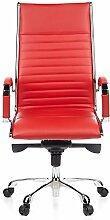 hjh OFFICE 660530 Bürostuhl Chefsessel PARMA 20 Leder rot, Designklassiker, hochwertige Verarbeitung, hohe Rückenlehne, Schreibtischstuhl ergonomisch, Büro Sessel, Drehstuhl, XXL Chefsessel