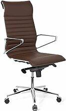 hjh OFFICE 720023 Bürostuhl Chefsessel PARIBA I Echt-Leder Braun Ergonomisch Schreibtisch-Stuhl Drehstuhl Armlehne Hohe Rückenlehne