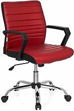 hjh OFFICE 723050 Bürostuhl ERGOSMOOTH Kunstleder Rot Home-Office Schreibtischstuhl mit Armlehnen