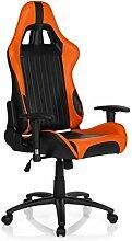 hjh OFFICE 729060 Gaming PC Stuhl SPIELBERG II Lederimitat schwarz orange, feste Polsterung, ideal zum Zocken, Chefsessel, verstellbare Armlehnen, Bürostuhl Sessel, Racer, XXL Chefsessel, Gamer Stuhl