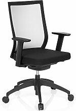 hjh OFFICE Bürostuhl ASPEN mit selbstheilendem Netzrücken, höhenverstellbare Armlehnen, Drehstuhl, Schreibtischstuhl (schwarz)