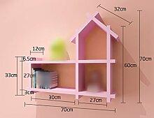 HJHY® Rack, Kinderzimmer Wanddekoration Paint Partition an der Wand Regal hängen Kreativ Kleines Haus Bücherregal Schrank Regal Gitter Einfach und elegant ( Farbe : Pink )