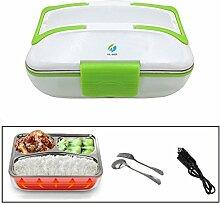 HJJL Elektrische Lunchbox für Auto 12V 40W 3 Fächer Schichten 820ML Kapazität, Food Warmer Lunch Box mit Messer und Gabel, Separater abnehmbarer Container, Hitzebeständiger Griff (GRÜN)