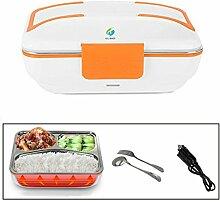 HJJL Elektrische Lunchbox für Auto 12V 40W 3 Fächer Schichten 820ML Kapazität, Food Warmer Lunch Box mit Messer und Gabel, Separater abnehmbarer Container, Hitzebeständiger Griff (ORANGE)