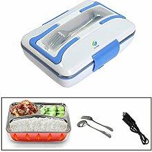 HJJL Elektrische Lunchbox für Auto 12V 40W 3 Fächer Schichten 820ML Kapazität, Food Warmer Lunch Box mit Messer und Gabel, Separater abnehmbarer Container, Hitzebeständiger Griff (BLAU)