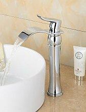 hjkdgh Wasserhahn Modische Messing verchromt Waschbecken Wasserhahn–Silber