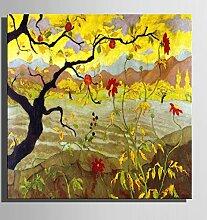 HJKHK Leinwand-Kunst Late Herbst-Wald-Landschaft-Dekoration-Malerei, Frameless Malerei , 40*40*1