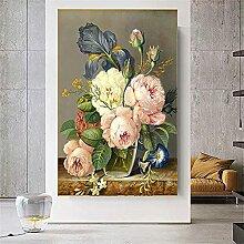 HJKLP Klassische Blume öLgemäLde Moderne Textur