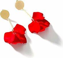 HJKM Rote Silber Ohrringe Pflanze Blumen Lange