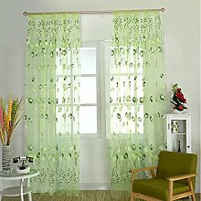 HJL Fenster-Vorhänge Tür-Vorhang-Fenster-Tulpe-Schirme für Raum und bequemes Vorhang-Schlafzimmer 100*270cm Grün