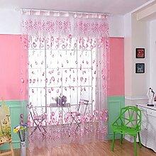 HJL Fenster-Vorhänge Tür-Vorhang-Fenster-Tulpe-Schirme für Raum und bequemes Vorhang-Schlafzimmer 100*270cm Rosa