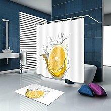 HJMTRY 3D Duschvorhang und Badematte Set Mildewproof Wasserdichte Polyester Minimalismus Bad Zubehör Duschvorhang und Memory Foam Weiche Badematten Multi Größen , 165 x 180 cm