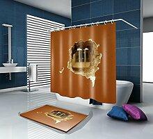 HJMTRY Bad Zubehör Bad Duschvorhang und Badematte Anzug Polyester 3D Digitaldruck Wasserdicht Mildewproof Bad Dekor mit 12 Kunststoff Haken Multi Größen , 180 x 220 cm