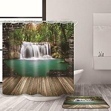 HJMTRY Bad Zubehör Duschvorhang mit Badematte Set Polyester Mildewproof Wasserdichte 3D Falls View Pattern Bad Dekoration mit 12 Kunststoff Haken Multi Size , 150 x 180 cm