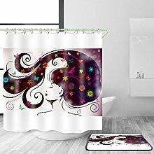 HJMTRY Bad Zubehör Duschvorhang und Badematte Anzug Polyester 3D Digitaldruck Modern Minimalismus Wasserdichtes Mildewproof Bad mit 12 Kunststoff Haken Multi Größen , @1 , 100 x 180 cm