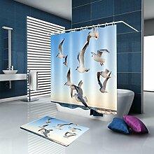 HJMTRY Bad Zubehör Duschvorhang und Badematte Set