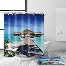 HJMTRY Bad Zubehör Duschvorhang und Badematte Set 3D Digitaldruck Polyester Wasserdicht Mildewproof Bad Dekor mit 12 Kunststoff Haken Multi Size , 120 x 200 cm