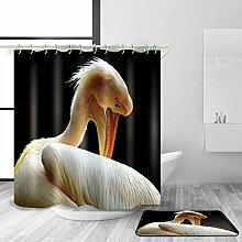 HJMTRY Bad Zubehör Duschvorhang und Badematte Set Polyester Material 3D Digitaldruck Tiermuster Mildewproof Wasserdichtes Badezimmer Dekor mit 12 Kunststoff Haken , 100 x 180 cm