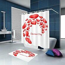 HJMTRY Duschvorhang Badematte Set Polyester Stoff Mildewproof Wasserdichte Duschvorhang Set Bad Zubehör mit 12 Kunststoff Haken Multi Size , @1 , 150 x 200 cm