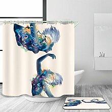 HJMTRY Duschvorhang mit Mattenanzug mit 12
