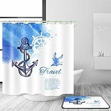 HJMTRY Duschvorhang und Badematte Set Bad Zubehör Polyester 3D Digitaldruck Wasserdicht Mildewproof Bad Dekor mit 12 Kunststoff Haken Multi Größen , @2 , 150 x 180 cm