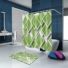 HJMTRY Duschvorhang und Badematte Set Minimalismus Bad Dekor Polyester Wasserdicht Mildewproof Bad Zubehör mit 12 Kunststoff Haken Multi Size , 120 x 200 cm