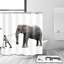 HJMTRY Duschvorhang und Badematte Set mit 12 Kunststoffhaken Polyester wasserdicht Schimmel Beweis Elefanten Muster Bad Zubehör Bad Dekoration Multi Größe , @1 , 180 x 220 cm