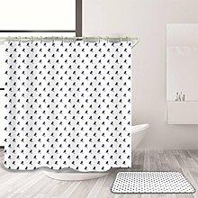HJMTRY Duschvorhang und Badematte Set Polyester Wasserdicht Mildewproof Mode Wave Point Style Bad Zubehör Bad Dekor mit 12 Kunststoff Haken Multi Size Gleiche Farbe System , @3 , 150 x 200 cm