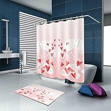 HJMTRY Duschvorhang und Badematte Set Romantisches