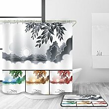 HJMTRY Minimalismus Duschvorhang und Badematte Anzug Polyester Mildewproof Wasserdicht Anti-Bakterien Bad Zubehör Bad Dekor Multi Größen , @2 , 170 x 170 cm