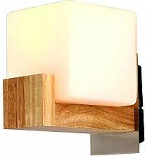 HJR LED Holz Wandlampe Glas Lampenschirm für Bett